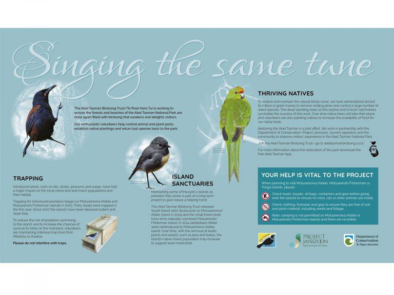 Abel Tasman Birdsong Trust/Te Poari Koro Tūī 'singing the same tune' sign