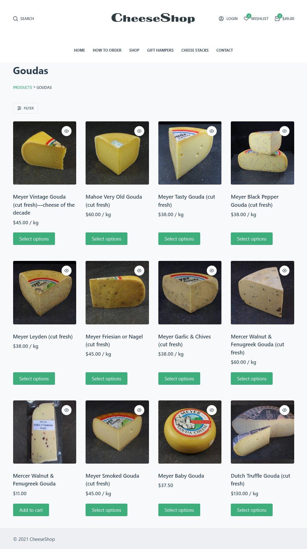 Skylark Design sample CheeseShop website